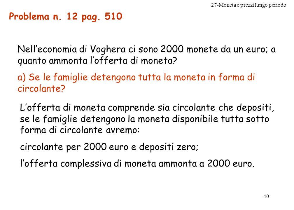 27-Moneta e prezzi lungo periodo 41 b) Se le famiglie detengono moneta solo in forma di deposito a vista e le banche operano in regime di riserva al 100%.