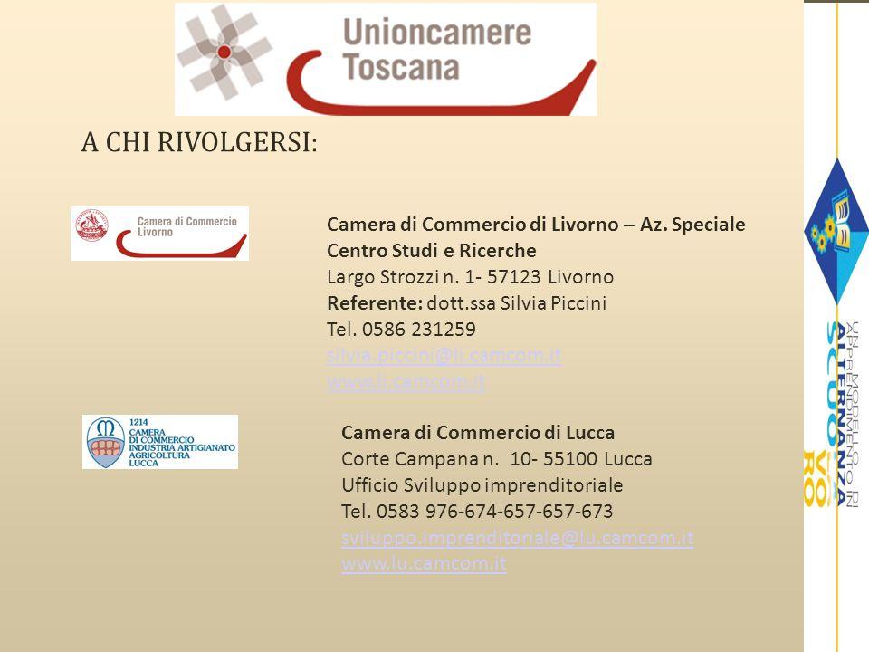 A CHI RIVOLGERSI: Camera di Commercio di Massa Carrara Via VII Luglio n.