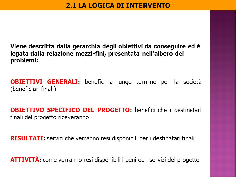 IL LOG(ICAL) FRAME(WORK) Logica intervento Obiettivi generali Obiettivo specifico del progetto Risultati Attività Indicatori verificabili Mezzi Fonti della verifica Costi Precondizioni (fattori esterni) Pre-requisiti per lo sviluppo del progetto