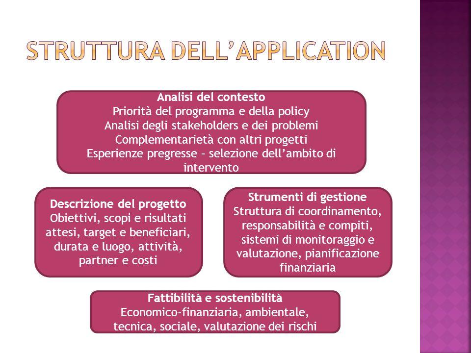 Mostrare la coerenza del progetto con Le caratteristiche della situazione sulla quale ci concentriamo (anche stakeholders) La strategia a livello locale (progetti già realizzati o programmati) – approccio strategico Le priorità del programma Le esperienze Gli obiettivi trasversali alle politiche UE (es.