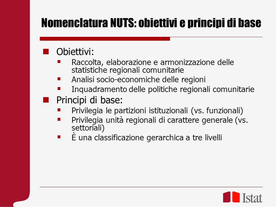 Criteri di costruzione della classificazione Il raggruppamento di unità comparabili in ogni livello della NUTS implica l istituzione, per ogni Stato membro, di un ulteriore livello regionale, che si aggiunge ai due livelli principali sopra menzionati.