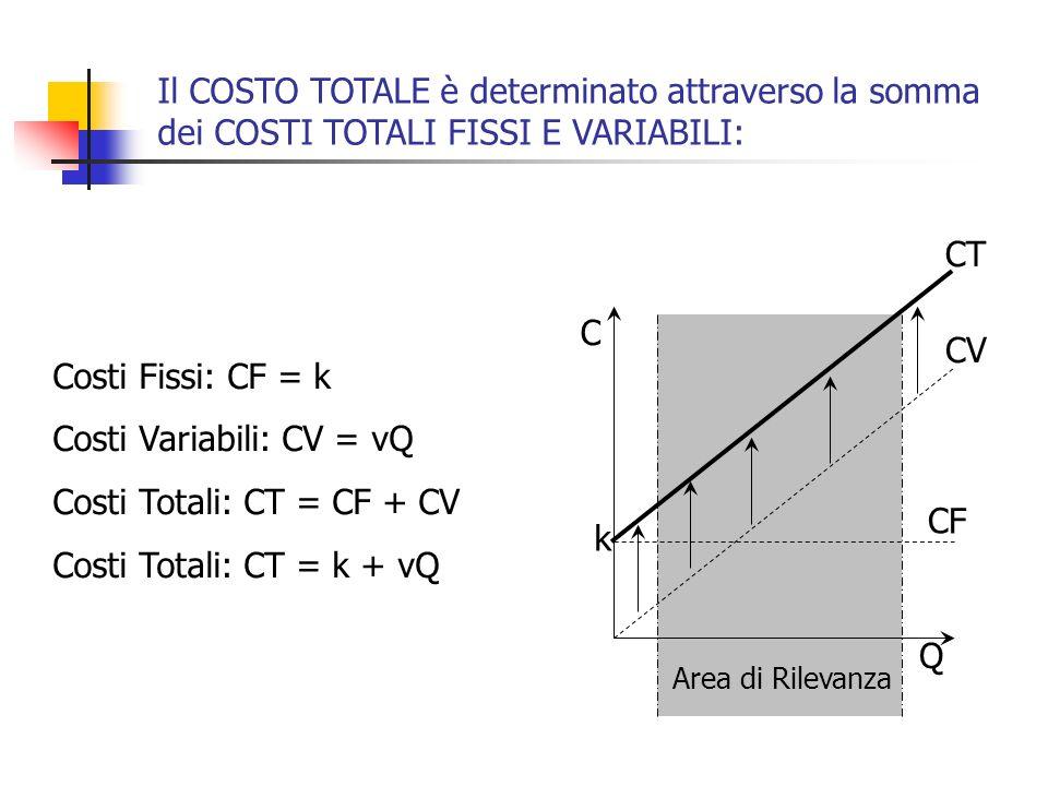 Costi Totali: CT = k + vQ Costo Unitario: CT Q kQkQ + v= CVT CVU Costi VariabiliCosti Fissi Costi Totali CFT CT CTU CFU