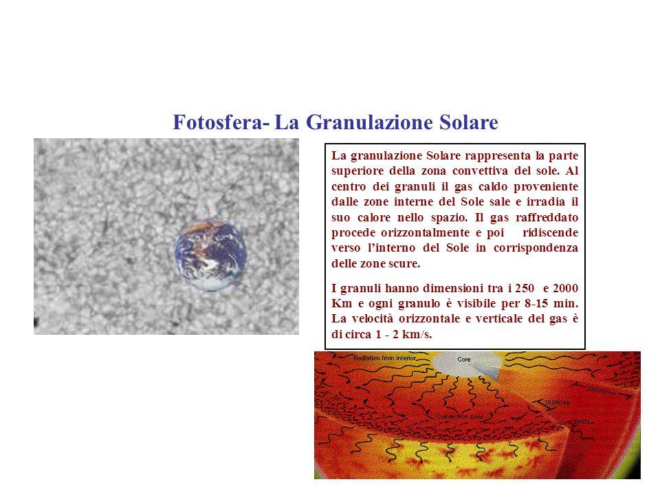 La Fotosfera - Le Macchie Solari Si tratta di aree che appaiono più scure rispetto alla fotosfera perché, rispetto a quest ultima, hanno una temperatura inferiore.