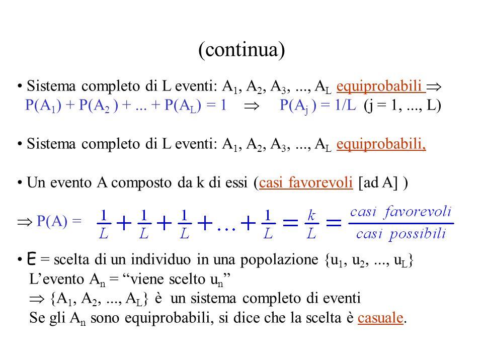 (continua) Sistema completo di L eventi: A 1, A 2, A 3,..., A L equiprobabili P(A 1 ) + P(A 2 ) +...