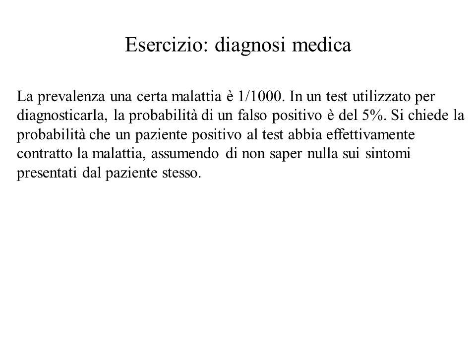 Esercizio: diagnosi medica La prevalenza una certa malattia è 1/1000.