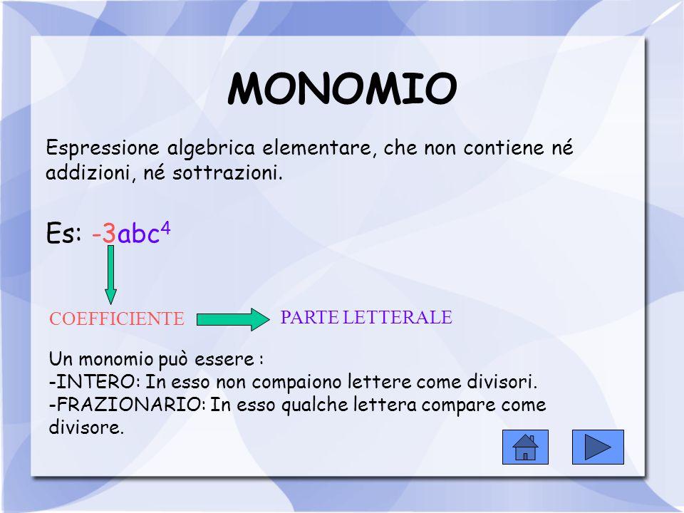 Si chiama segno di un monomio, il segno del suo coefficiente.