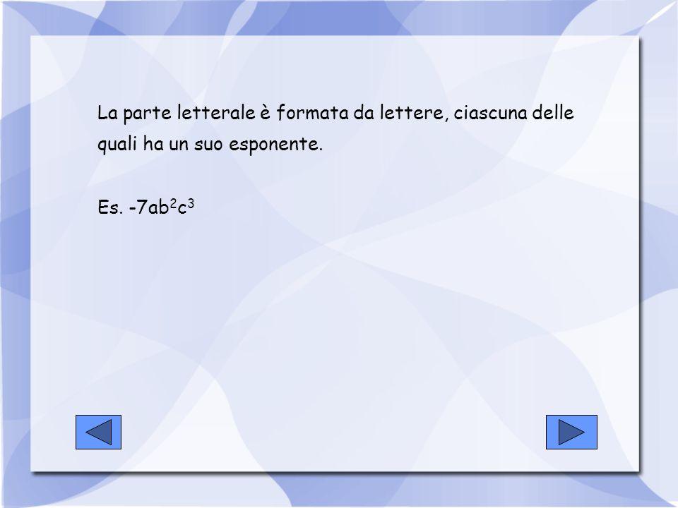 Si dice grado di un monomio, rispetto ad una lettera, l esponente con cui la lettera compare.