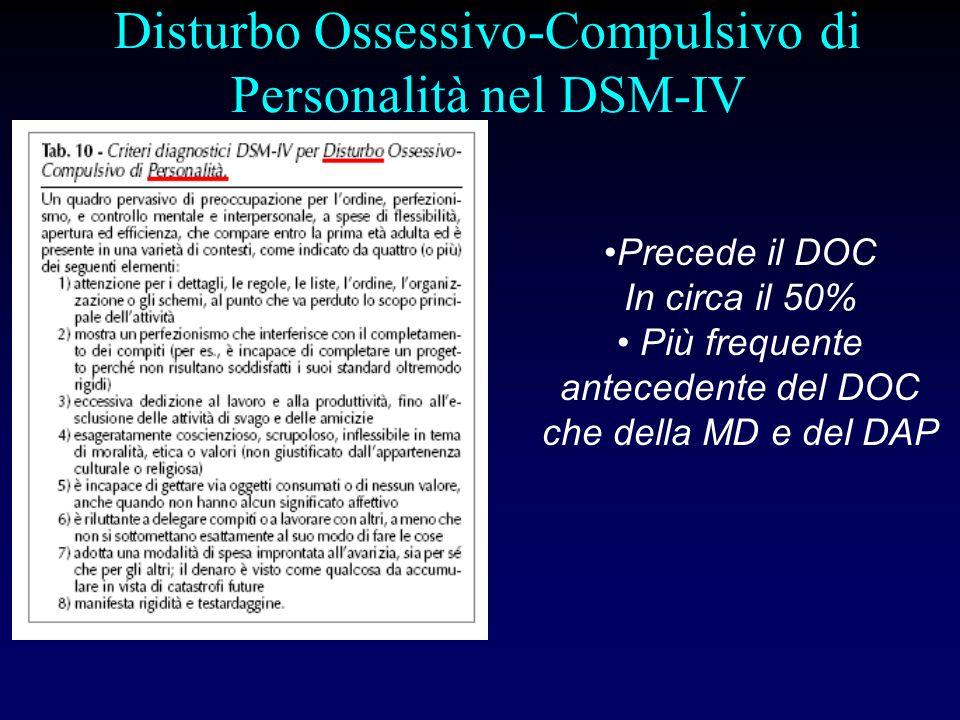 Aree di sovrapposizione fra ICD-10 e DSM-IV In entrambe le classificazioni il DOC è una entità nosografica autonoma e ben distinta dalle altre Il quadro descrittivo è sostanzialmente sovrapponibile per le ossessioni e le compulsioni Vi è in entrambe le classificazioni un corrispondente disturbo di personalità