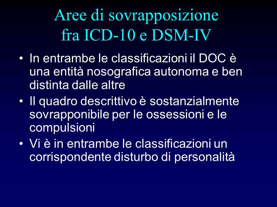 Differenze fra ICD-10 e DSM-IV NellICD-10 il DOC è inserito nella categoria delle nevrosi insieme ai disturbi dansia, da stress e somatoformi Nel DSM-IV è inserito nella classificazione fra i disturbi dansia Criterio Funzionale presente nel DSM-IV assente nellICD-10 Il disturbo di personalità considerato alternativo per ICD-10, non per il DSM-IV
