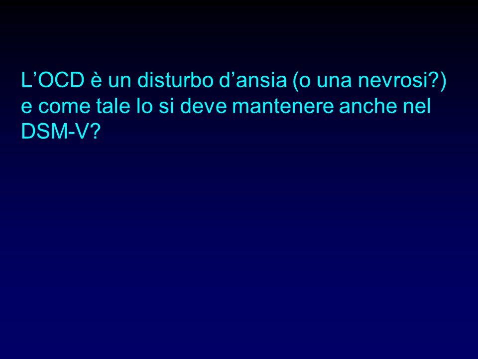 1)Se è un disturbo dansia 2)Se è un disturbo nello spettro ossessivo-compulsivo 3)Quali sono i dati epidemiologici (comorbidità, familiarità) e neurobiologici e di trattamento che supportano una o laltra classificazione