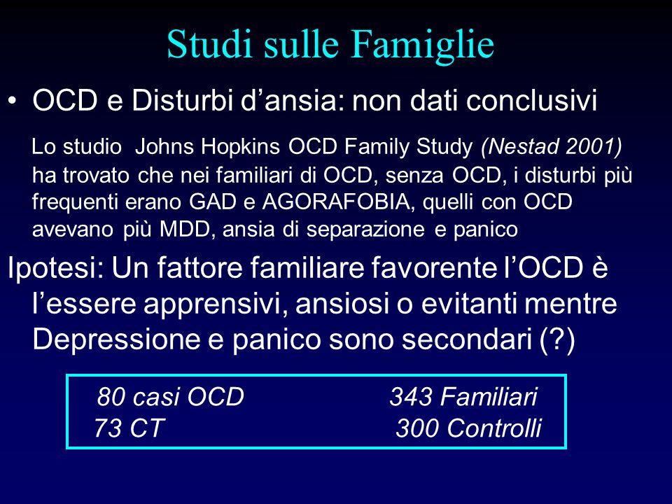 Studi sulle Famiglie OCD e Disturbi dello spettro OCD (sOCD) 1.Il Johns Hopkins OCD Family Study (Bienveu, 2000) ha trovato che alcuni sOCD- Ipocondria, Disturbo Dismorfofobico, Tricotillomania erano più frequenti nei familiari degli OCD, indipendentemente dallavere o no lOCD.