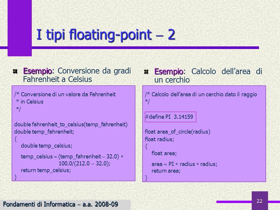 23 Le costanti floating-point double Le costanti floating point sono, per default, di tipo double fFlL float long double Lo standard ANSI consente tuttavia di dichiarare esplicitamente il tipo della costante, mediante luso dei suffissi f/F o l/L, per costanti float e long double, rispettivamente 3.141.3333333 0.3 3e2 5E 5 3.5f 3.7e12 3.5e3L 35Mancano il punto decimale o lesponente 3,500.45La virgola non è ammessa 4eIl simbolo esponente deve essere seguito da un numero 4e3.6Lesponente deve essere intero Costanti scorrette Costanti corrette Fondamenti di Informatica a.a.