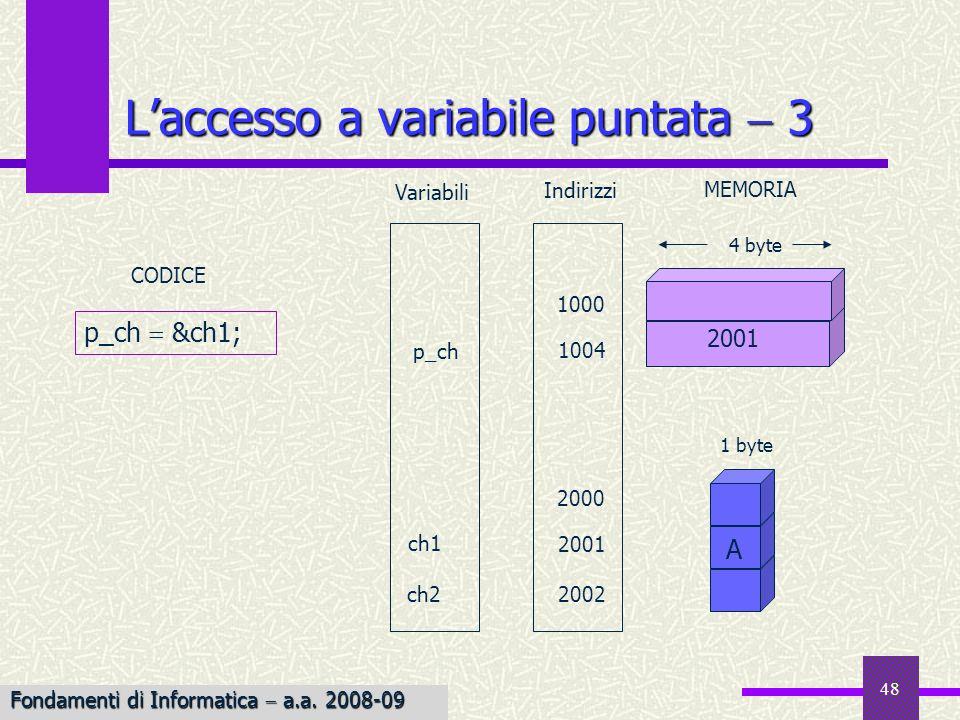 49 Laccesso a variabile puntata 4 Variabili 1 byte 4 byte ch2 2000 1004 1000 2001 CODICE 2002 p_ch ch1 Indirizzi MEMORIA ch2 *p_ch; A A 2001 Prendi lindirizzo memorizzato in p_ch e leggi il valore contenuto nella locazione di memoria identificata da tale indirizzo; copialo in ch2 Fondamenti di Informatica a.a.