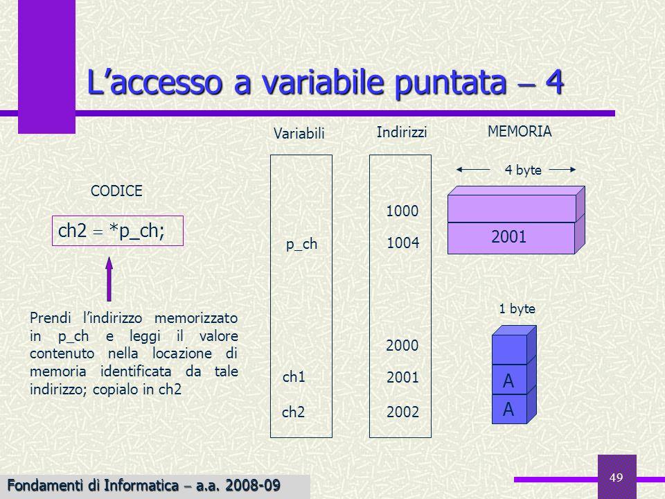 50 Il tipo di dato contenuto nella dichiarazione del puntatore indica il tipo del risultato delloperazione accesso allindirizzo contenuto in Esempio Esempio: La dichiarazione float *fp; float significa che quando *fp appare in unespressione il risultato è di tipo float; lespressione *fp può anche apparire alla sinistra di unistruzione di assegnamento *fp 3.15; che memorizza il valore 3.15 nella locazione di memoria puntata da fp Esempio Esempio: Lassegnazione fp 3.15; è scorretta poiché gli indirizzi non sono numeri interi né floating point, e non possono essere assegnati Laccesso a variabile puntata 5 Fondamenti di Informatica a.a.