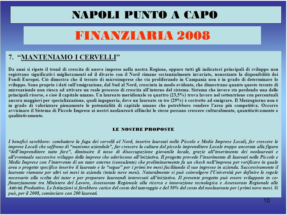 11 NAPOLI PUNTO A CAPO FINANZIARIA 2008 Incontro tra politici, imprese, cittadini sui contenuti della legge di bilancio 2008 8.