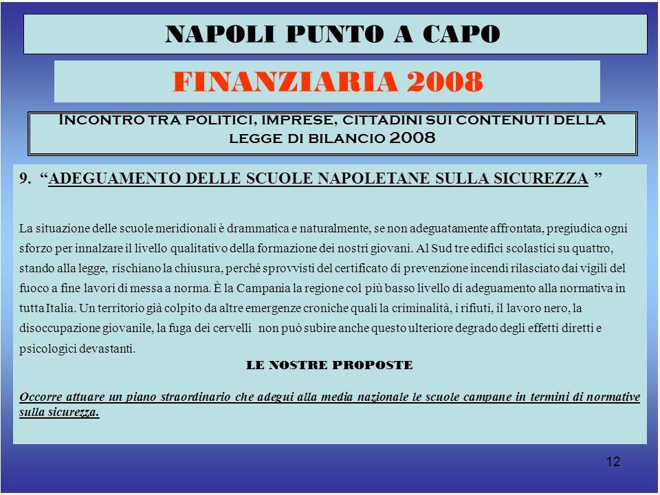 13 NAPOLI PUNTO A CAPO FINANZIARIA 2008 Incontro tra politici, imprese, cittadini sui contenuti della legge di bilancio 2008 10.