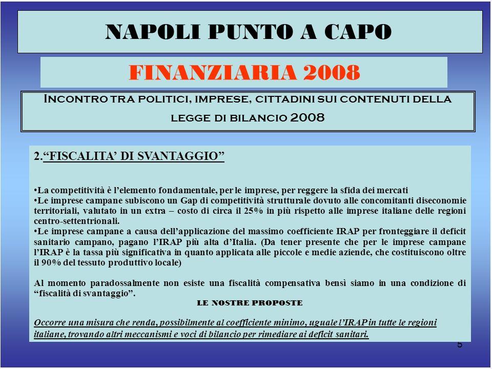 6 NAPOLI PUNTO A CAPO FINANZIARIA 2008 Incontro tra politici, imprese, cittadini sui contenuti della legge di bilancio 2008 3.