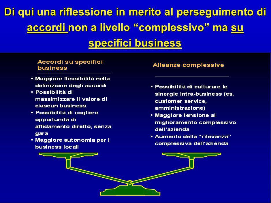 13 Di qui una riflessione in merito al perseguimento di accordi non a livello complessivo ma su specifici business