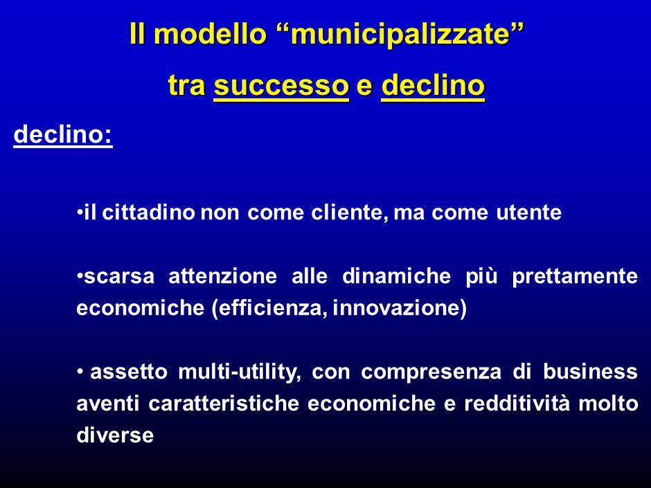 4 Il modello municipalizzate tra successo e declino declino: il cittadino non come cliente, ma come utente scarsa attenzione alle dinamiche più prettamente economiche (efficienza, innovazione) assetto multi-utility, con compresenza di business aventi caratteristiche economiche e redditività molto diverse