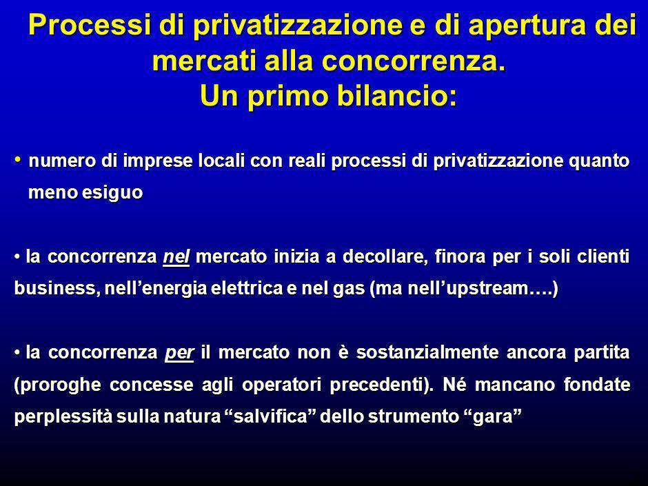 6 Processi di privatizzazione e di apertura dei mercati alla concorrenza.
