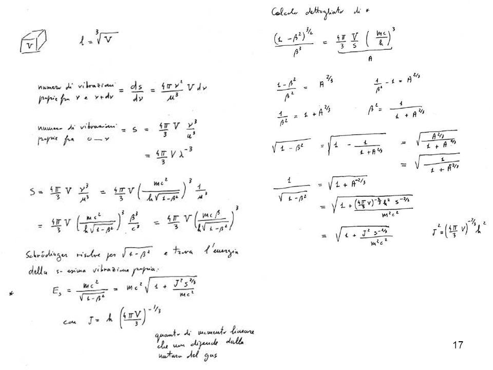18 Esiste un caso limite particolarmente interessante, quello di piccoli : che risulta in perfetto accordo con larticolo di Einstein sulla statistica dei gas: Quantentheorie des einatomiger idealen Gases Sitz.