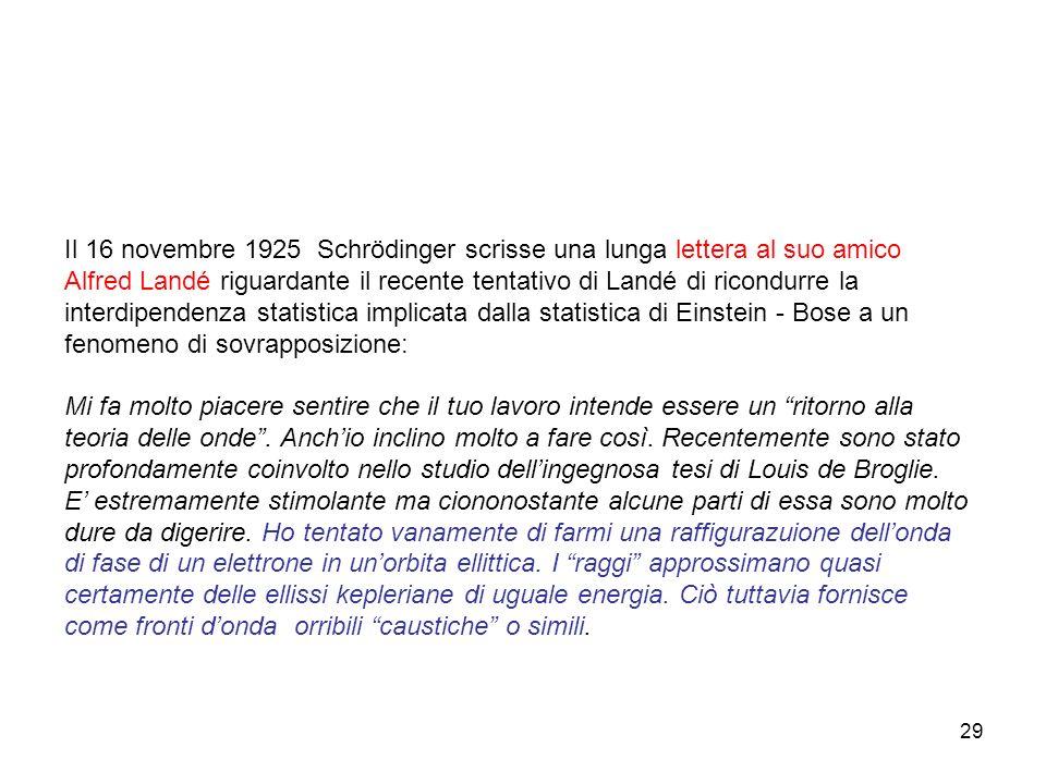 30 Nel Novembre del 1925 Peter Debye (allora all ETH di Zurigo) chiese a Schrödinger di presentare un seminario congiunto sulla tesi di de Broglie appena pubblicata; secondo Felix Bloch, dopo la presentazione: Debye puntualizzò incidentalmente che giudicava questo modo di considerare le cose [quello di de Broglie] piuttosto puerile.