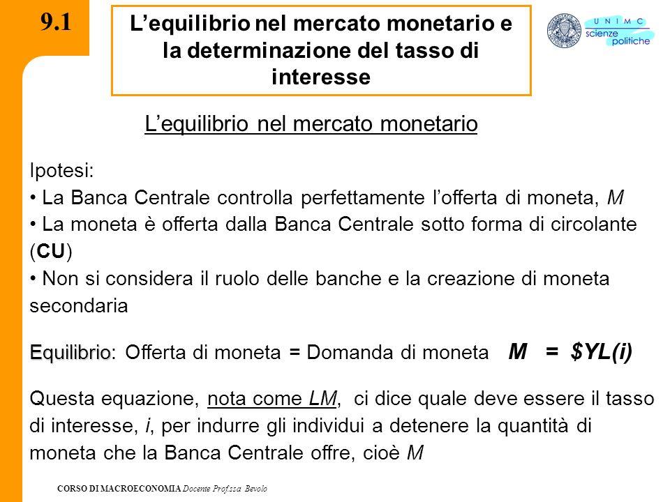 CORSO DI MACROECONOMIA Docente Prof.ssa Bevolo 9.2 La determinazione del tasso di interesse MdMd Moneta, M Tasso di interesse, i i M MsMs A