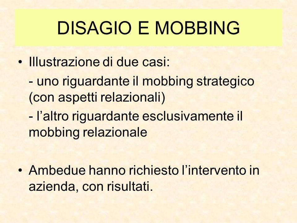 DISAGIO E MOBBING Alcuni casi di emarginazione verso donne neo spose o neo mamme (in ambito lavorativo privato)