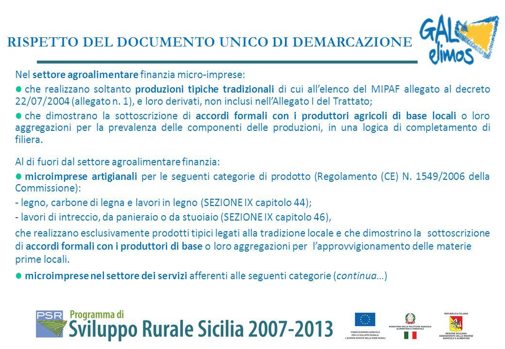 Nel settore agroalimentare finanzia micro-imprese: che realizzano soltanto produzioni tipiche tradizionali di cui allelenco del MIPAF allegato al decreto 22/07/2004 (allegato n.