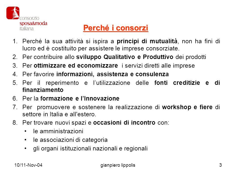 10/11-Nov-04gianpiero lippolis4 Problematiche: Tre le condizioni base per dar vita ad un Consorzio 1.La condivisione dei progetti tra i soci fondatori (min.