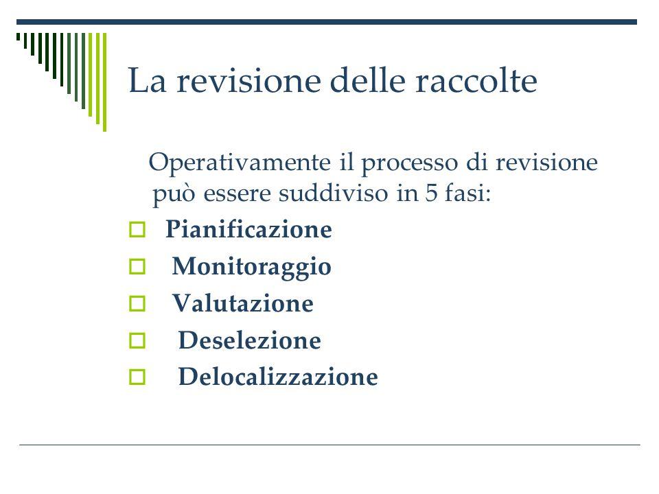 La revisione delle raccolte Fase 1.