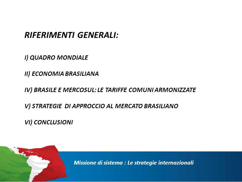 I) Quadro Mondiale Missione di sistema : Le strategie internazionali