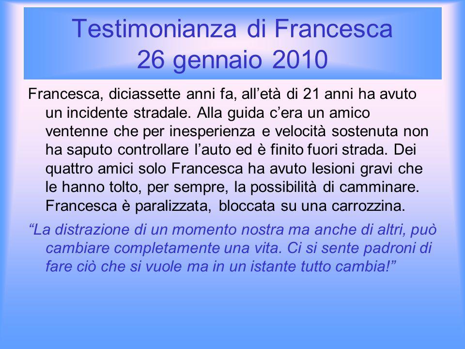 Testimonianza di Francesca Francesca dice: da quando sono uscita dallospedale, la realtà è cambiata completamente.