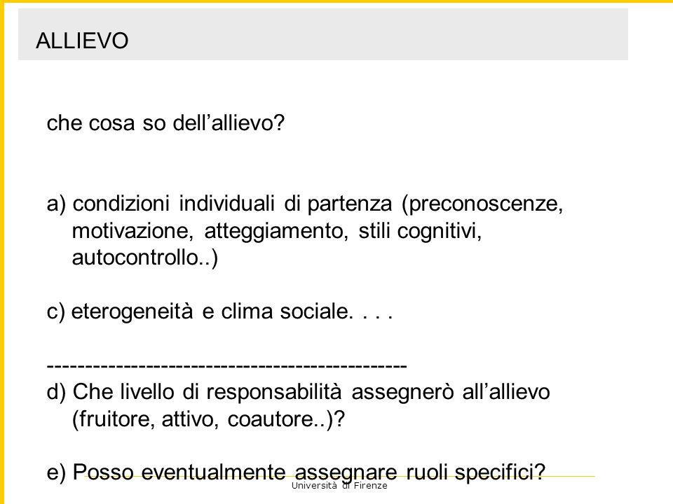 Università di Firenze Quali vincoli pone lambiente.