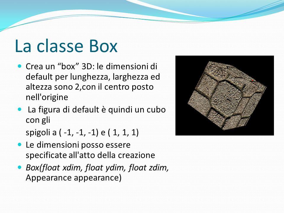 Aspetto ed attributi Uno Shape3D (Box è una estensione di Shape3D) può fare riferimento sia ad un oggetto Geometry sia ad un oggetto Appearance La Geometry specifica le informazioni spaziali e (opzionale) di colore sui vertici Tuttavia i dati di una Geometry sono spesso insufficienti per descrivere l aspetto di un oggetto: è necessario utilizzare un oggetto Appearance