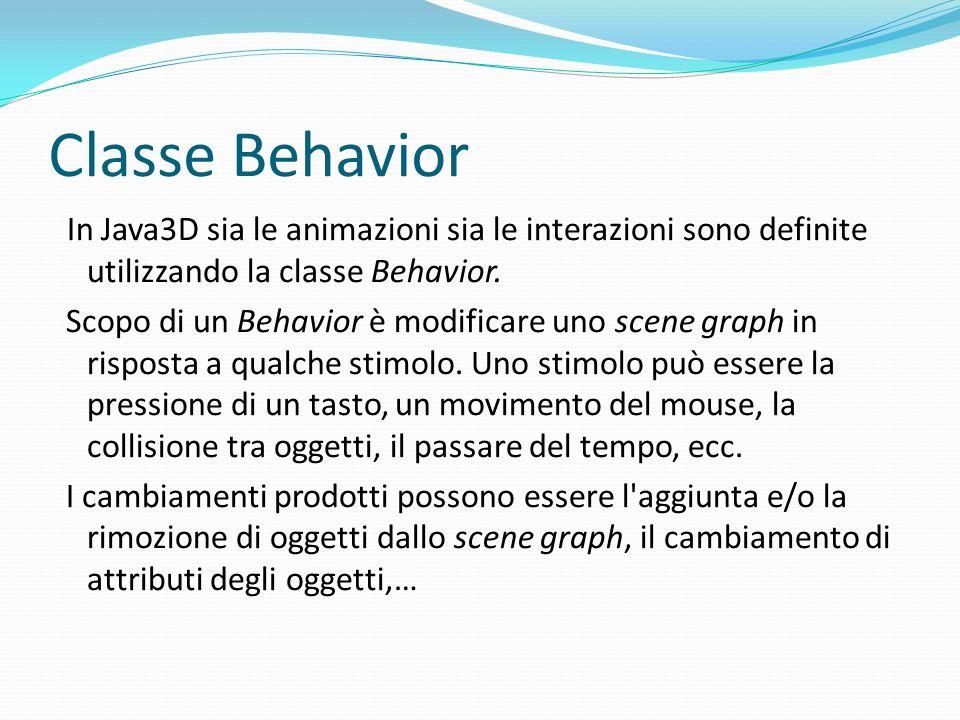 Le animazioni in Java3D Teoricamente è possibile creare qualsiasi animazione personalizzata usando i Behavior, in ogni caso Java3D fornisce una serie di classi di utility per le animazioni più comuni.