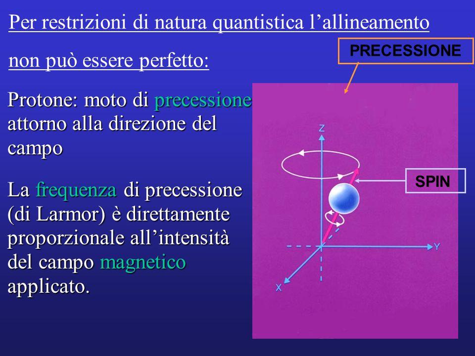 Equazione di Larmor: 0 = B 0 0 = frequenza di precessione (MHz) = forza campo magnetico esterno (in Tesla) = costante giromagnetica: differente per diverse sostanze (per H: 42,5 MHz/T) B0 B0
