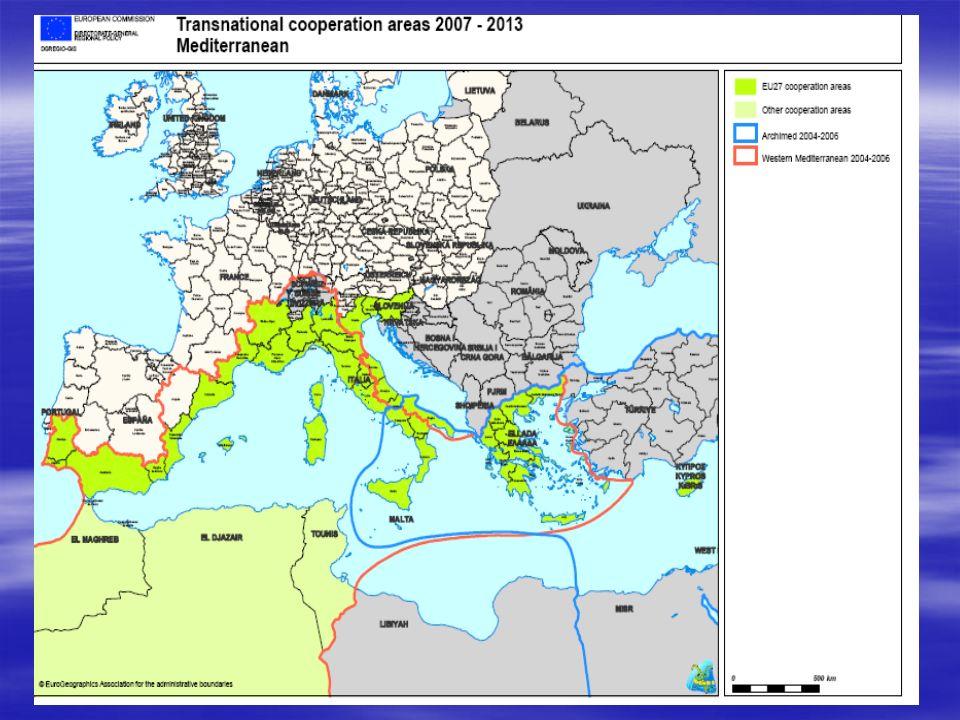 5 Programma MED 2007-2013 Bilancio totale : 256.617.688 EUR Contributo FESR :193.191.331 EUR ***********PRIORITA 1.Rafforzamento delle capacità d innovazione (57.957.399 EUR - FESR) 2.Tutela dell ambiente e promozione di uno sviluppo territoriale sostenibile; (65.685.053 EUR) 3.Miglioramento della mobilità e dell accessibilità dei territori (38.638.266 EUR) 4.Promozione di uno sviluppo policentrico ed integrato dello spazio MED (19.319.133 EUR) 5.Assistenza tecnica (11.591.480 EUR)
