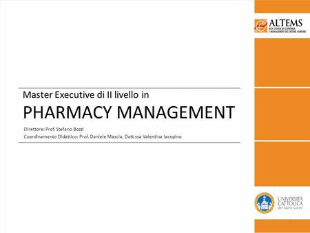 Master Executive di II livello in PHARMACY MANAGEMENT