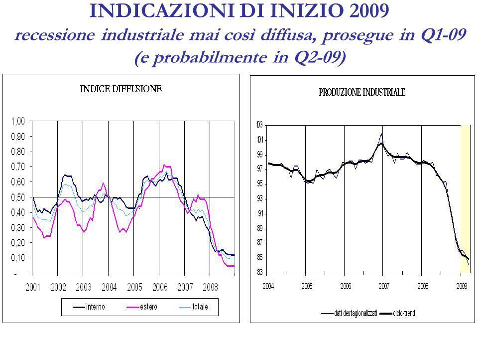 INDICAZIONI DI INIZIO 2009 segnali di accentuata debolezza anche negli altri settori