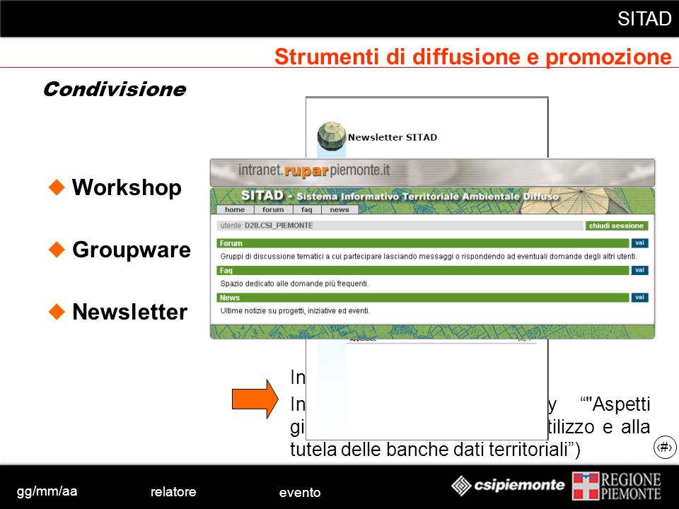gg/mm/aa relatore evento SITAD 9 Strumenti di diffusione e promozione SITAD ha aderito alla Call for Expression of Interest promossa da INSPIRE: proponendosi come SDIC (Spatial Data Infrastructure Community) con la definizione di SITAD di SistemaPiemonte candidando un esperto allinterno del Drafting Team relativo a Data specification, che è stato selezionato e pertanto sta attivamente partecipando ai lavori SITAD è oggetto di una proposta di progetto con la quale si è risposto alla call for proposals 2005 allinterno del programma europeo eContentplus TRANSDI- TRAN-European Thematic Network of regional Spatial Data Infrastructure for data, metadata and services enrichment, finalizzata alla creazione una rete tematica coordinata dalla Regione Piemonte e volta a promuovere il progetto SITAD a livello europeo Condivisione: eventi significativi (1)