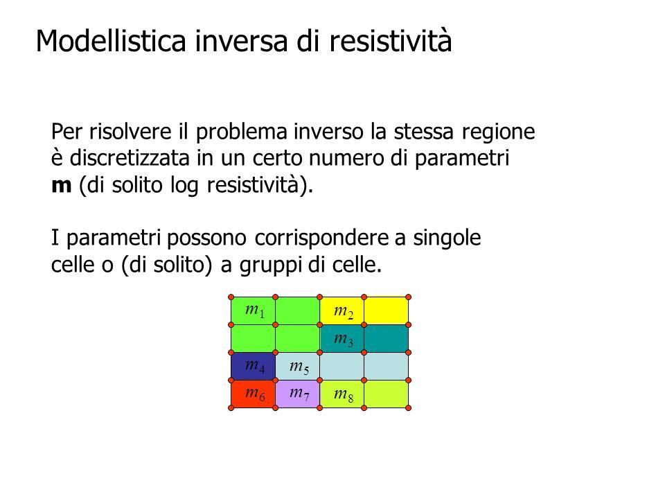Per il problema inverso dobbiamo definire una funzione obiettivo da minimizzare Potremmo usare il misfit dei dati F i (m) è la i-esima resistenza calcolata, d i è la i-esima resistenza misurata, i è lerrore della misura i, W d è la matrice degli errori, N è il numero di misure