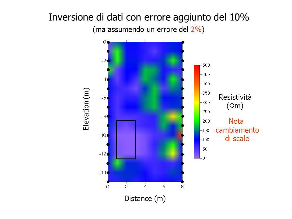 Elevation (m) Distance (m) Resistività ( m) Inversione di dati con errore aggiunto del 10% (ma assumendo un errore del 20%)