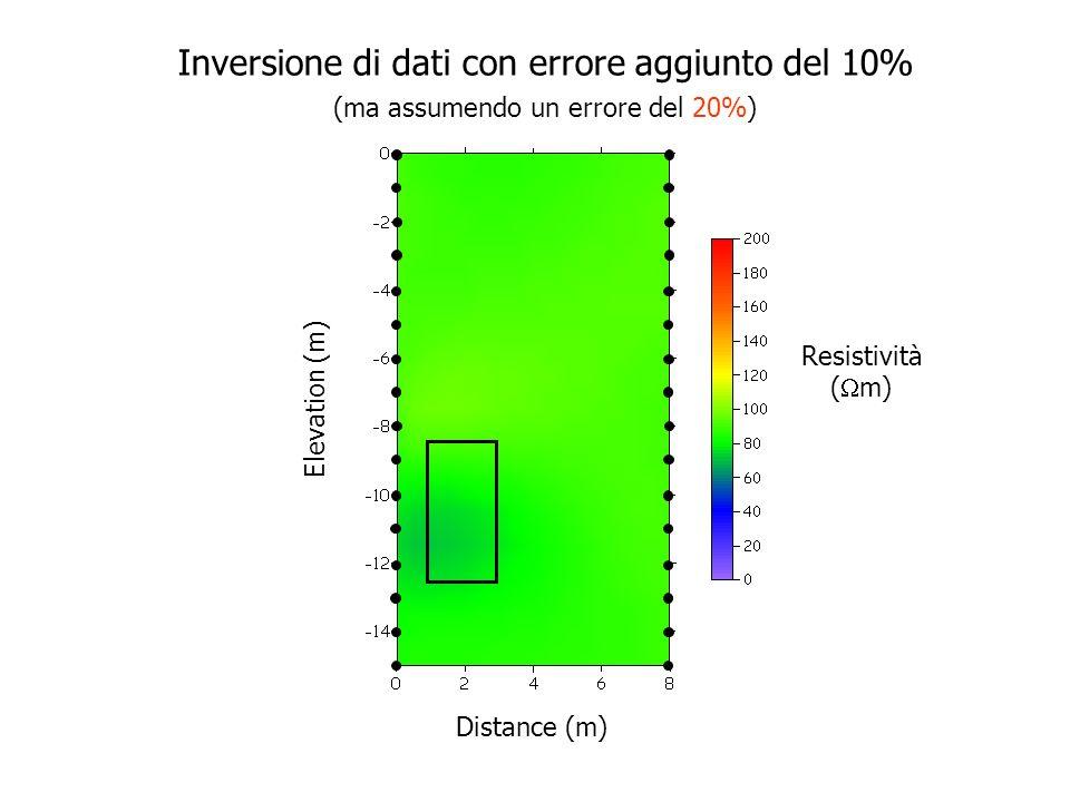 Elevation (m) Distance (m) Resistività ( m) Inversione di dati con errore aggiunto del 10% (ma assumendo un errore del 10%)