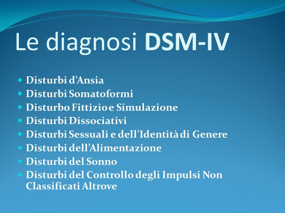Le diagnosi DSM-IV Disturbi dellAdattamento Disturbi della Personalità Altre condizioni che possono essere oggetto di attenzione clinica