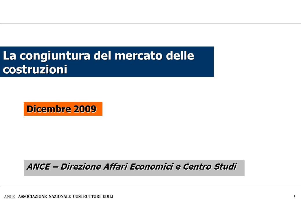 2 Effetti della crisi su alcuni indicatori economici: La crisi, iniziata nel 2008 e ancora in atto, è più intensa delle precedenti Var.% Roma, 3 dicembre 2009 CrisiValore Aggiunto settore Costruzioni 1974 - 1975-3,8% in 3 trimestri -5,9% in 8 trimestri 1992 - 1993-1,9% in 6 trimestri-13,0% in 11 trimestri Crisi in atto-6,5% in atto da 5 trimestri -6,9% (fino al 2° trimestre 2009 - in atto da 5 trimestri) Elaborazione Ance su dati Banca d Italia PIL Pil: +0,6% terzo trimestre 2009 rispetto al trimestre precedente (stima preliminare Istat del 13 novembre 2009)