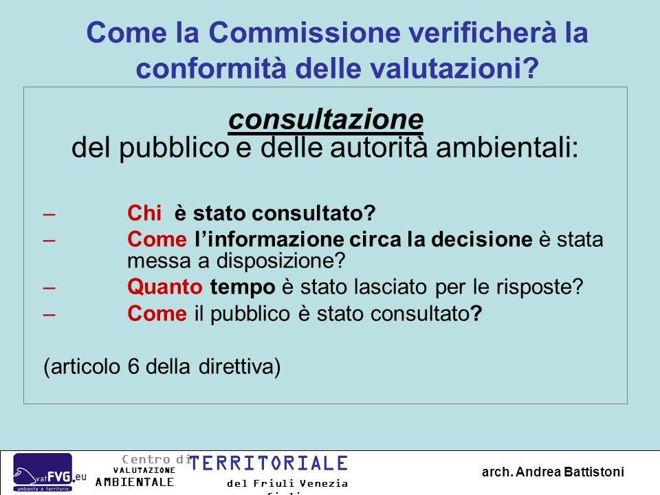 Alcuni documenti di referenza Lettera DG REGIO / DG ENV «Guida» sullattuazione della direttiva (IT): http://ec.europa.eu/environment/eia/sea-support.htm http://ec.europa.eu/environment/eia/sea-support.htm Site web della DG ENV sur VIA e VAS: http://ec.europa.eu/environment/eia/home.htm http://ec.europa.eu/environment/eia/home.htm « Manuale» in EN sulla VAS: Handbook on SEA for Cohesion Policy 2007-2013 (Programma INTERREG IIIC - GRDP) Lapplicazione della Direttiva 200/42/CE al ciclo de programmazione 2007-2013 dei Fondi Strutturali in Italia arch.