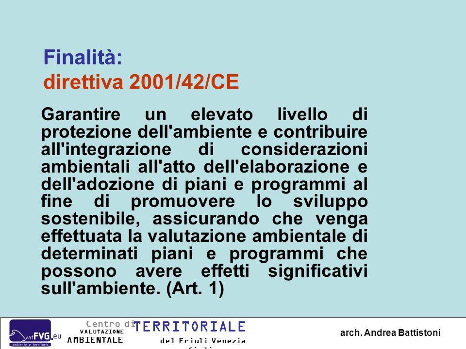 Valutazione Ambientale Strategica = VAS Piani & Programmi Valutazione dImpatto Ambientale = VIA Progetti Concetti di base arch.