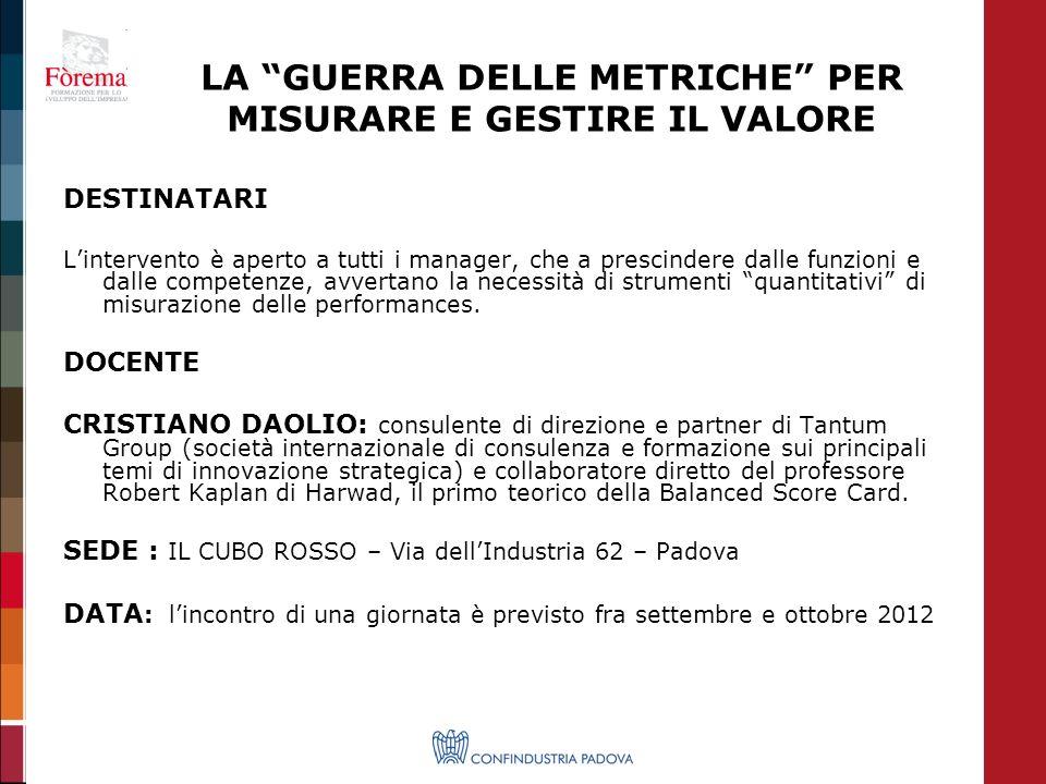 Per ulteriori informazioni contattare Chiara Rizzi Area Fondirigenti e Alta Formazione 049 8227511 crizzi@confindustria.pd.it