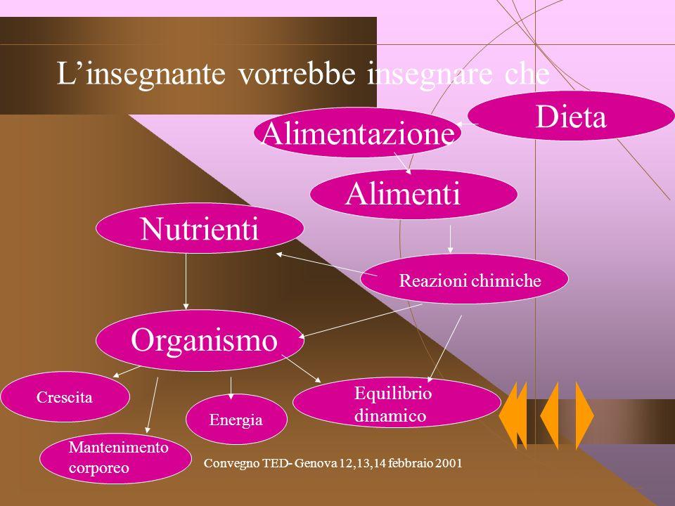 Convegno TED- Genova 12,13,14 febbraio 2001 Nutrienti Alimentazione Linsegnante vorrebbe insegnare che Organismo Crescita Energia Alimenti Reazioni chimiche Mantenimento corporeo Equilibrio dinamico Dieta